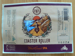 THEME MOTO : COASTER ROLLER IPA -  ETIQUETTE BIERE NEUVE - Bier