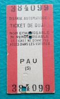 Ticket De Quai Train SNCF - Gare De Pau - Distributeur Automatique - Europe