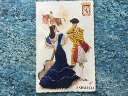 Carte Postale Brodée Andalucia Couple Voir Photos - Borduurwerk