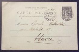 Entier 5 Sage 10 C Paris R. D'Amsterdam Vers Hâvre Horaire 2/1/1901 - Standard Postcards & Stamped On Demand (before 1995)