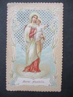 Antieke   Prent  Van  MARIA Met Kind  Temidden Doorkijk - Virgen Maria Y Las Madonnas