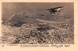 Maroc - CASABLANCA - Un Avion De La Compagnie Aéropostale Au-dessus Du Port - Photo Flandrin - Casablanca