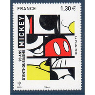 Timbre Neuf France MNH 2018 : Mickey Fête Ses 90 Ans - Unused Stamps
