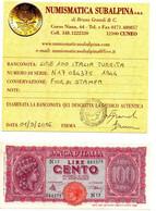 Italia - 100 Lire 1944 - Turrita - Periziata - 100 Lire