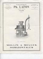 MOULIN à MEULES HORIZONTALES - ETS PH. LAFON - TOURS - - Publicidad
