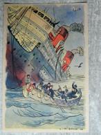 """LE 28 MAI 1940  TORPILLAGE DU BATEAU """" BRAZZA """"   LE COMMANDANT FRANCOIS REBILLARD    SIGNE L M BAYLE 44 - Zonder Classificatie"""
