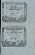 TRES BON LOT Double =2 X Assignat 1793 Serie 1209 - Assignats