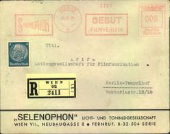 "1938, OSTMARK: Einschreiben ""Selenophon"" Filmverleih, Wien Mit Absenderfreistempel. R-Gebühr Hinten - Covers"