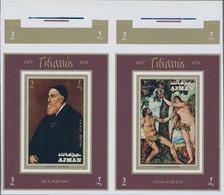 Adschman / Ajman: 1971, AJMAN: Paintings By TITIAN Complete Set Of Eight Special Miniature Sheets In - Ajman