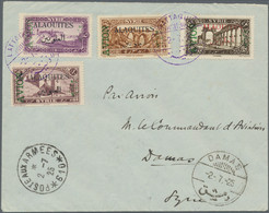 Alawiten-Gebiet: 1925, Airmails 2pi.-10pi., Complete Set On Philatelic Cover Postmarked With Violet - Brieven En Documenten