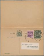 "Bahrain: 1934 Postal Stationery Double Card KGV. 9+9p. Overprinted ""BAHRAIN"" Addressed To Berlin, Ge - Bahrein (1965-...)"