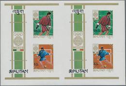 Bhutan: 1968, BHUTAN: Summer Olympics Mexico Miniature Sheet 1.05nu. Discus Throwing And 5nu. Footba - Bhutan