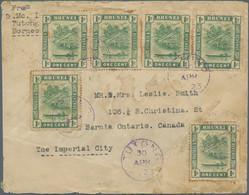 Brunei - Stempel: TUTONG (type D2): 1923 (30.4.), 'bush Huts And Canoe' 1c Green Six Singles Used On - Brunei (1984-...)