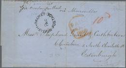 Ceylon / Sri Lanka: 1856 Stampless Cover From Colombo To Edinburgh, Scotland Per Overland Mail Via M - Sri Lanka (Ceylon) (1948-...)