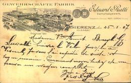 """1907, Werbekarte """"Gewehrschäfte Fabrik"""" In Sierenz (Elsaß) Mit 2-mal 5 Pfg. Germania  Nach Frankreich - Covers"""