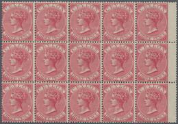 Ceylon / Sri Lanka: 1867, QV 3d. Carmine-rose, Perf. 14, Block Of 15 With Wing Margins At Right, Int - Sri Lanka (Ceylon) (1948-...)