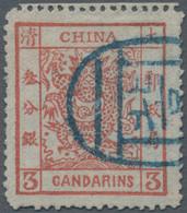China: 1882, Large Dragon 3 Ca. Red, Wide Margins, Blue Seal Cancel Of Peking (Michel €320). - 1912-1949 Republiek