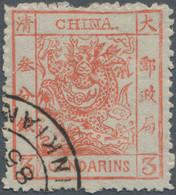 "China: 1885, Large Dragon Rough Perfs. 3 Ca. Vermilion Corner Cancel ""(CH)INKIAN(G) ... 85"", Variety - 1912-1949 Republiek"