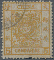 China: 1878, Large Dragon 5 Ca. Orange, Thin Paper, Lightly Used, Fine (Michel €420). - Zonder Classificatie