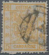 China: 1878, Customs Large Dragon 5 Ca. Orange, Thin Paper, Used, Fine (Michel €420). - Zonder Classificatie