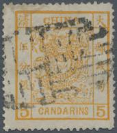 China: 1882, Large Dragon Large Margins 5 Ca. Yellow, Canc. Full Strike Of Large Type Incised Seal O - 1912-1949 Republiek