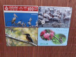 Birds 4 Phonecards Used Rare - Otros