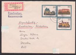 Brand-Erbisdorf DDR GA-Umschlag U1 Als R-eigenhändig Und Rückschein  Abb. Burg Ranis, Kriebstein - Privatumschläge - Gebraucht