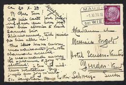 ALLEMAGNE 1938:  CP De Vienne (Autriche) Pour La Suisse, Affr. De 15p - Briefe U. Dokumente