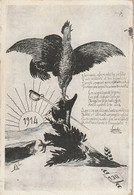 Z+ 3- TEXTE LEANDRE ( 1914 ) ILLUSTRE PAR UN COQ SUR UN AIGLE TRANSPERCE D' UN SABRE - ILLUSTRATEUR - 2 SCANS - Patriotiques