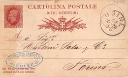 1878 Cartolina Postale 10c Da Udine  Per Torino - Entero Postal