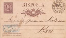 1887 Cartolina Postale Risposta Da Milano Per Bari - Entero Postal