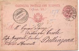 1899 Cartolina Postale 7 E Mezzo Con  Risposta Da Torino  Per Bellinzona - Entero Postal