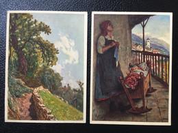 SUISSE - Pro Juventute - 2 CPA L. ROSSI - Chemin De Montagne & Le Berceau + Timbres Pro Juventute 1929 - TBE - Sin Clasificación