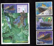 SOMALIA, 1998 - SERIE + FOGLIETTO, SET + SOUVENIR SHEET - TITANIC - MNH** - Somalia (1960-...)