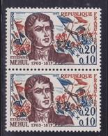 Mèche Bleue Sur Le Sommet De La Chevelure Et Rouge  Sur  N° 1370( 2101/13.2) - Curiosités: 1950-59 Neufs