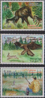 TAJIKISTAN, 2020, MNH, HUNTING, FISHING, FISH, BEARS, BIRDS, EAGLES, DOGS, 3v - Aquile & Rapaci Diurni