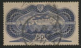 POSTE AERIENNE N° 15  Cote : 400 € 50 Fr Burelé Oblitéré. TB - 1927-1959 Afgestempeld