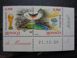 MONACO 2006 Y&T N° 2539 & 2540 ** - COUPE DU MONDE DE FOOTBALL EN ALLEMAGNE - Unused Stamps