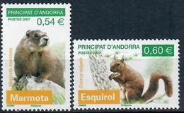 ANDORRE FRANCAIS (2007) YT 634/635 Neufs** Faune Marmotte Ecureuil - Ungebraucht