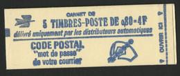 N°1816-C1 Cote : 11 € Carnet Fermé De 5 Timbres 80 Ct Rouge Marianne De Bequet. TB. - Definitives
