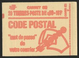 N°1816-C3 Cote : 25 € Carnet Fermé De 20 Timbres 80 Ct Rouge Marianne De Bequet Avec 3 Bandes Phosphorescentes. TB. - Definitives