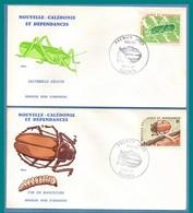 FDC NOUVELLE CALEDONIE N N° 406 407 Insectes 1977  Sauterelle Et Ver Du Bancoulier - Sonstige