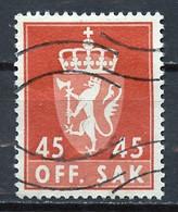 Norvège - Norway - Norwegen Service 1955-76 Y&T N°S77A - Michel N°D76 (o) - 45s Armoirie - Officials
