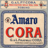 """11164 """"AMARO CORA-G.&L. FRATELLI CORA-TORINO-COSTIGLIOLE D'ASTI""""(2)-ETICHETTA ORIGINALE Cm. 13,5 X 13,3 - Unclassified"""