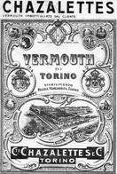 """11173 """"CHAZALETTES-VERMOUTH DI TORINO""""TRAMWAY-(2)-ETICHETTA ORIGINALE Cm. 17,0 X 11,6 - Unclassified"""