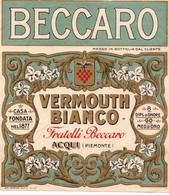 """11175 """"BECCARO-VERMOUTH BIANCO-FRATELLI BECCARO-ACQUI""""(1)-ETICHETTA ORIGINALE Cm. 13,7 X 12,3 - Unclassified"""