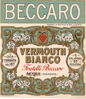 """11176 """"BECCARO-VERMOUTH BIANCO-FRATELLI BECCARO-ACQUI""""(2)-ETICHETTA ORIGINALE Cm. 13,7 X 12,3 - Unclassified"""