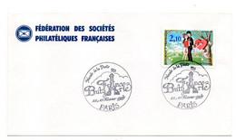 1985--lettre Souvenir--Musée De La Poste ..Timbre.St Valentin -Peynet..cachet Provisoire France Bulgarie..Tour Eiffel - Temporary Postmarks