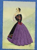 CPSM Carte Brodée Suisse Costume Folklorique GRAUBUNDEN - Grischun - Grison Voir Recto Trace - Borduurwerk