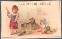 Chromo Bouillon Cibils Enfants Enfant Fillette Fillettes Ménage Balai Poussière Bébé Chat Sur Coussin Chaton - Ohne Zuordnung